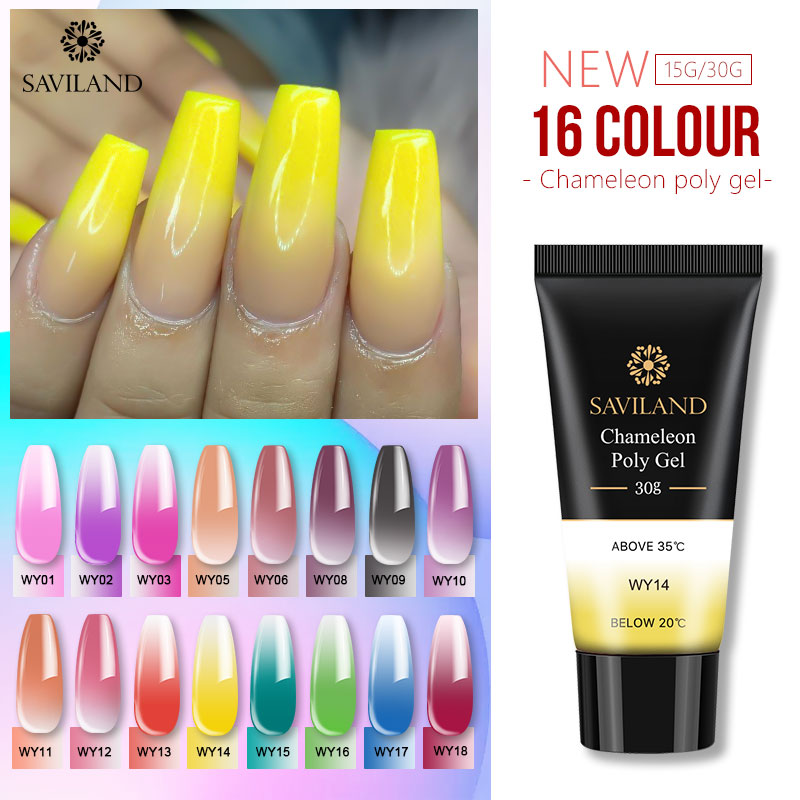 SAVILAND 30ml Polygel Changing Color Thermal Extension Nail Art Camouflage Acrylic Poly Gel Nail Quick Building UV Gel Polish