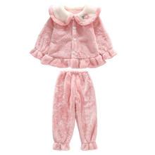 Зимняя домашняя одежда для девочек фланелевый пижамный комплект
