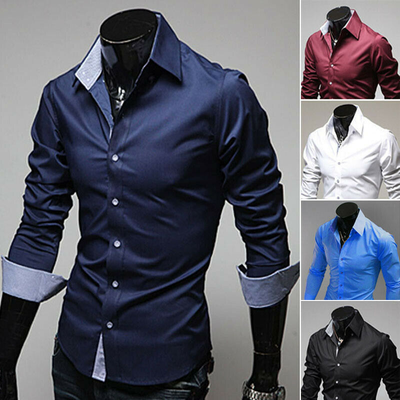 tesyyke Men Long Sleeve Shirts Slim Fit Solid Business Formal Shirts for Autumn
