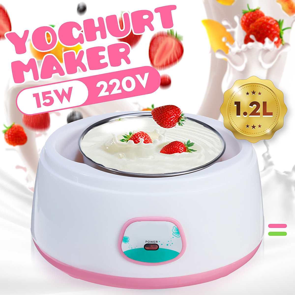 220V Yogurt Makers 1.2L Full Automatic Yogurt Machine Maker Household Stainless Steel/PP DIY Yogurt tools Mini Kitchen appliance