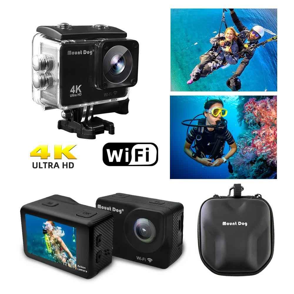 Водонепроницаемая Экшн-камера Mount Dog Ultra HD 4K с Wi-Fi дистанционным управлением, спортивные видео, восстанавливающие Подводные камеры