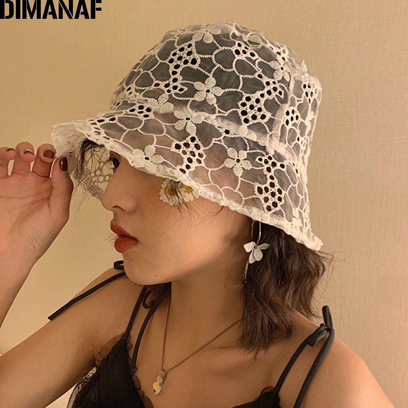 2020 Women Bucket Hats Lace Flowers Sun Hats Summer Hat Lace Elegant Fashion Ladies Floral Hat Soft Casual Summer Beach Holiday