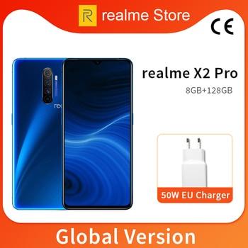 Перейти на Алиэкспресс и купить Global Version realme X2 Pro X 2 8GB 128GB Мобильный телефон Snapdragon 855 Plus 64MP Quad камера NFC мобильный телефон 50W Быстрое зарядное устройство