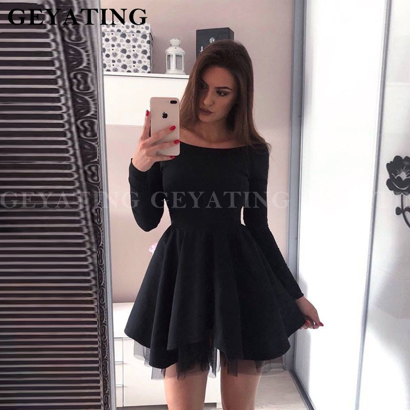 Black Satin Short Homecoming Dresses Long Sleeves Off Shoulder Mini Dress For Special Occasion 2019 Party Dress For Graduation