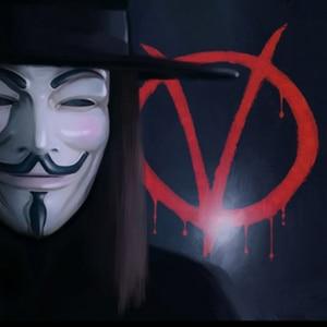 Image 2 - Анонимные костюмы с масками Vendetta Face косплей для модной вечеринки, Стильные Золотые товары для взрослых, цвета: серебристый, желтый, белый, Хэллоуин