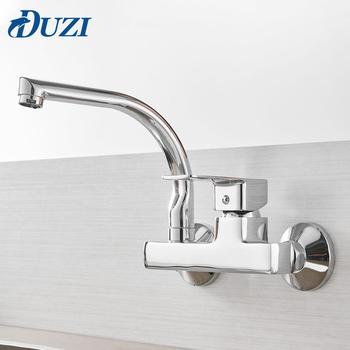 Wall Mounted Kitchen Faucet 360 Degree Rotation Cold And Hot Water Taps Single Handle Double Holes Kitchen Mixer Taps Chrome goose neck bathroom kitchen faucet 360 rotation single handle kitchen mixer taps with hot and cold water black deck mounted