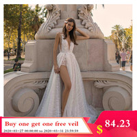 Smileven Wedding Dresses A line 2019 sparkling Lace Spaghetti Straps Side Split Beach Bride Dresses vestido de casamento Boho