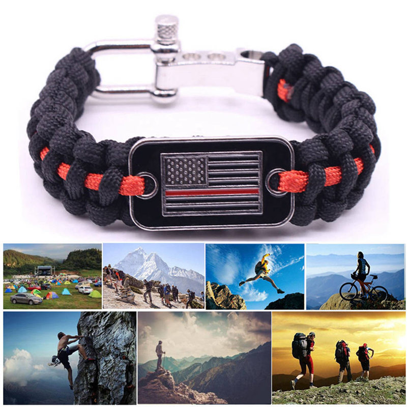 Unisex Outdoor Camping Tactical Survival Bracelet Wristband Emergency Adjustment Flag-fastening Umbrella Rope Bracelet