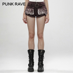 PUNK RAVE Women's Steampunk Viper Stonewashing Shorts Punk Denim Cotton Linen Lace Personality Women Short Detachable Belts