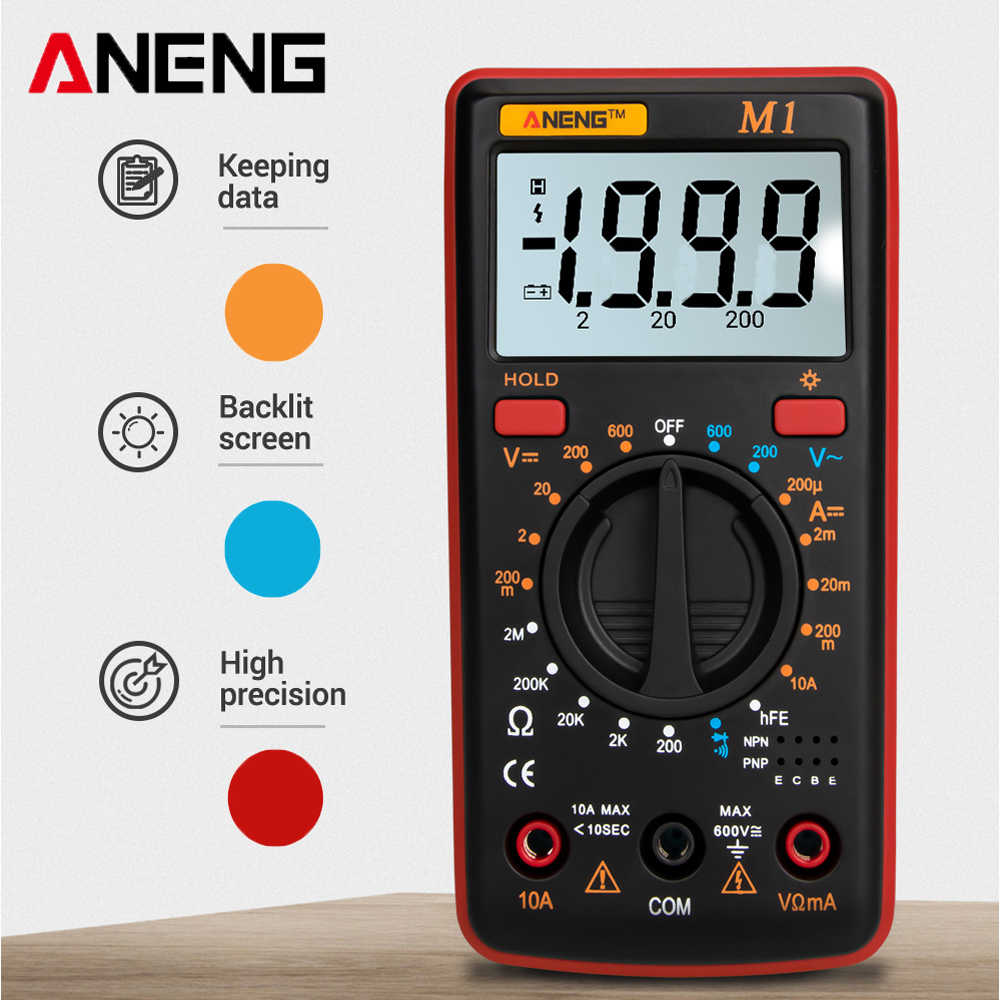 ANENG M1 Multimetro Digitale Esr Meter Multimetro Tester Vero Rms Multimetro Digitale Tester Multi Meter Richmeters Dmm 400a 10A
