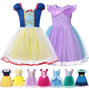 Girl Princess Belle-Dresses Dress-Up-Costume Rapunzel Halloween Party Snow-White Anna