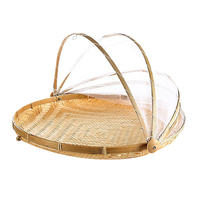 36x36cm Handmade Bamboo Woven Bug Proof Wicker Basket Dustproof Picnic Fruit Tray Food Bread Dishes Cover with Gauze|Storage Baskets| |  -