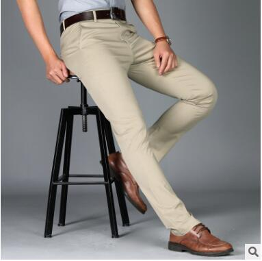 ZNG 2018 New  Summer Men's Casual Pants Korean Version Of The Fashion Stretch Cotton Slim Straight Men's Thin Trousers Free