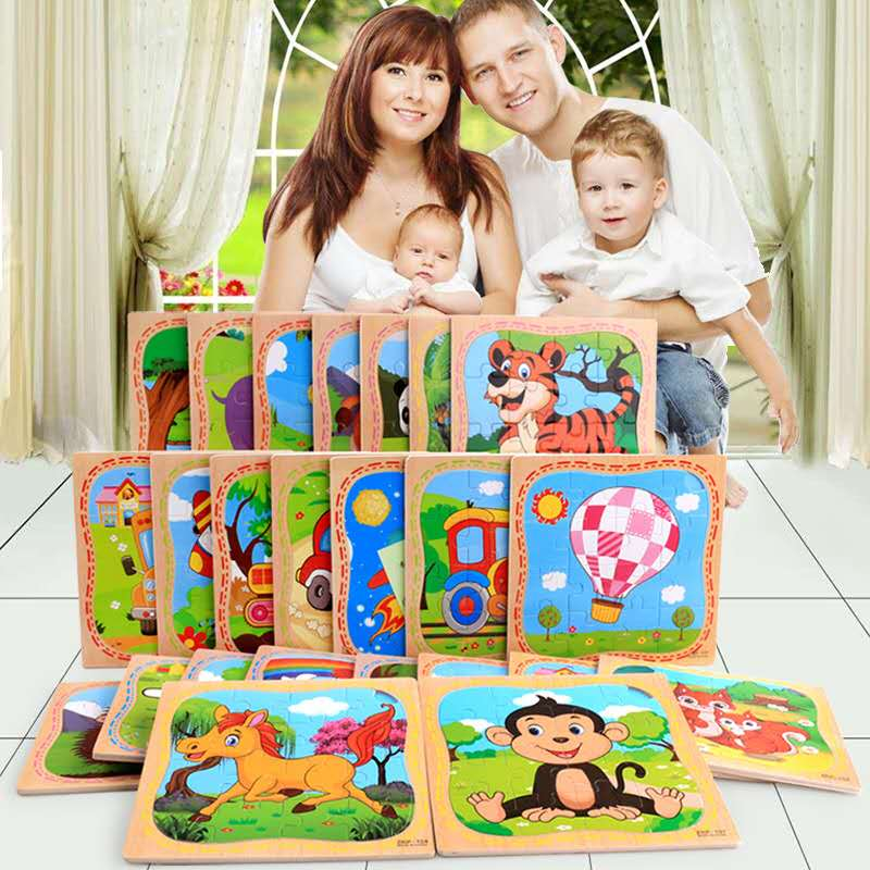 Baby Toys Wooden 3d Puzzle Cartoon Animal Intelligence Kids Educational Brain Teaser Children Tangram Shapes Learn Jigsaw Puzzle