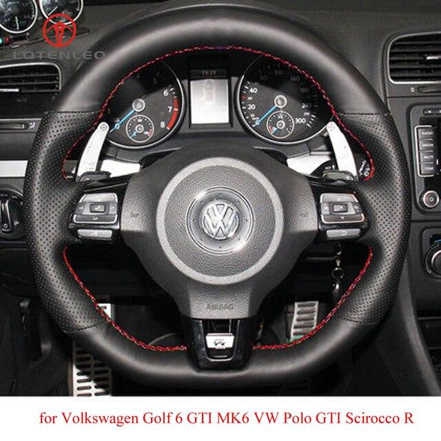 Черный чехол рулевого колеса автомобиля LQTENLEO из искусственной кожи для Volkswagen Golf 6 GTI MK6 VW Polo GTI Scirocco R Passat CC R Line