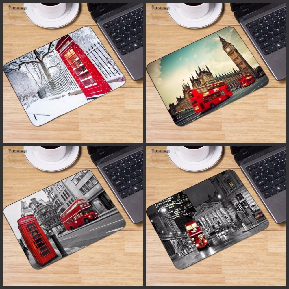 Yuzuoan New Designs London Bus England Telephone Large Mouse Pad PC Computer Mat Size For 22x18cm 25x20cm 29x25cm Resistant Dirt