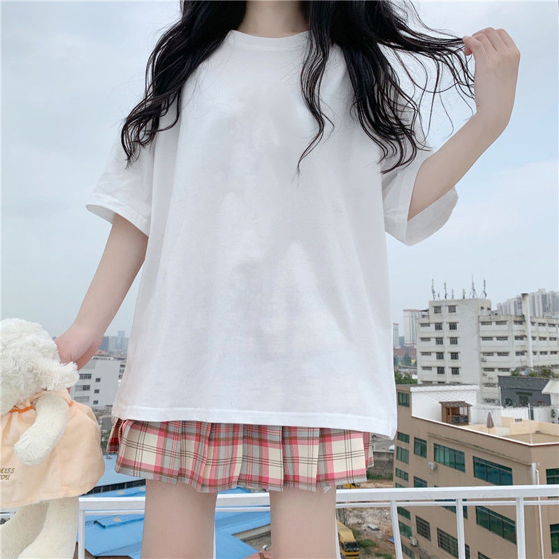 Cotton Japanese Love Bear Couple Short Sleeve Top 2021 Early Spring Oversize Loose sweatshirt for Women 6