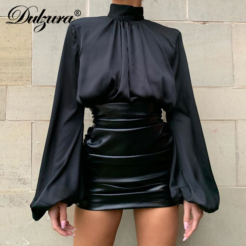 Dulzura Faux Leather Ruched Fashion Women Mini Pencil Skirt Short High Waist Clothes 2019 Autumn Winter Party Office Sexy Buttom