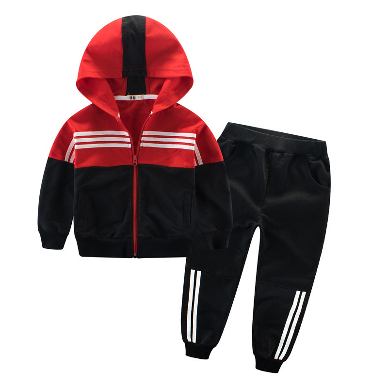 Children Clothing Sports Suit For Boys And Girls Hooded Outwears Long Sleeve Unisex Coat Pants  Set Casual Tracksuit 3