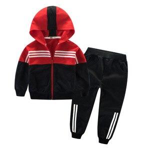 Image 3 - Kinder Kleidung Sport Anzug Für Jungen Und Mädchen Mit Kapuze Outwears Langarm Unisex Mantel Hosen Set Casual Trainingsanzug