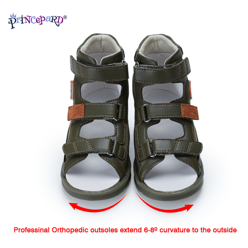 Princepard Children Orthopedic Sandals 2020 New Natural Leather Kid Boys Shoes Breathable Flats Army Green Toddler Boys Sandals