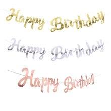 Gelukkige Verjaardag Banner Bunting Papier Verjaardagsfeestje Opknoping Garland Banner Baby Shower Decoratie