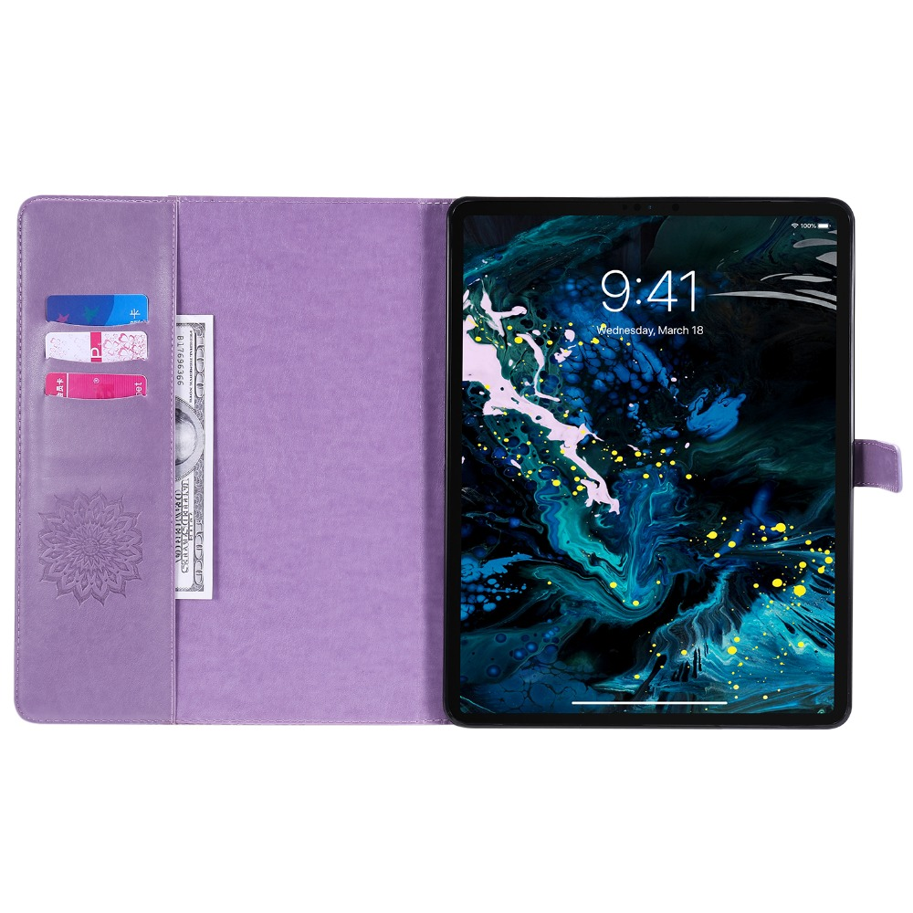 iPad for Skin Shell Leather Embossed Protective Case 12 2020 Cover 9 3D Pro Flower