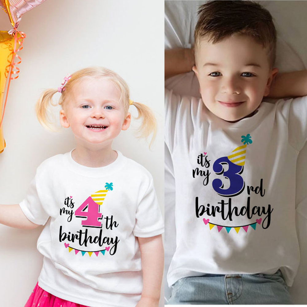 New Kids Boys Girls Summer Birthday T-shirts Short Sleeved T Shirt Size 1 2 3 4 5 6 7 8 9 Year Children Party Clothing Tees Tops