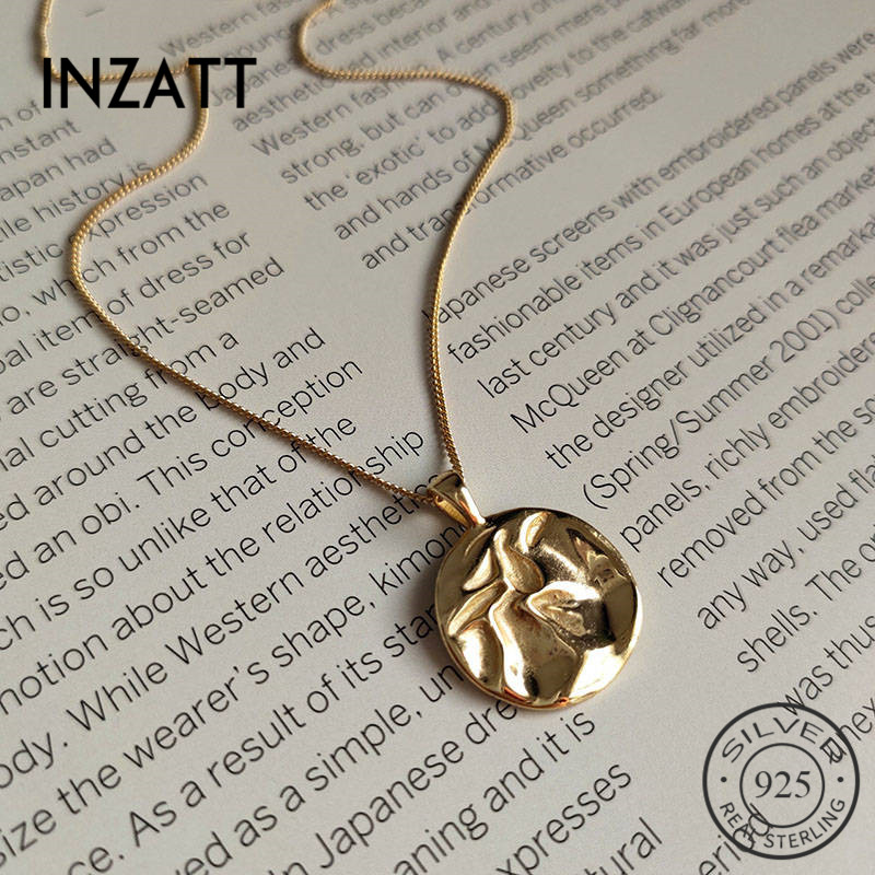 INZATT Real 925 Sterling Silver Round Bump Choker Pendant Necklace For Fashion Women Party  Fine Jewelry Minimalist Accessories