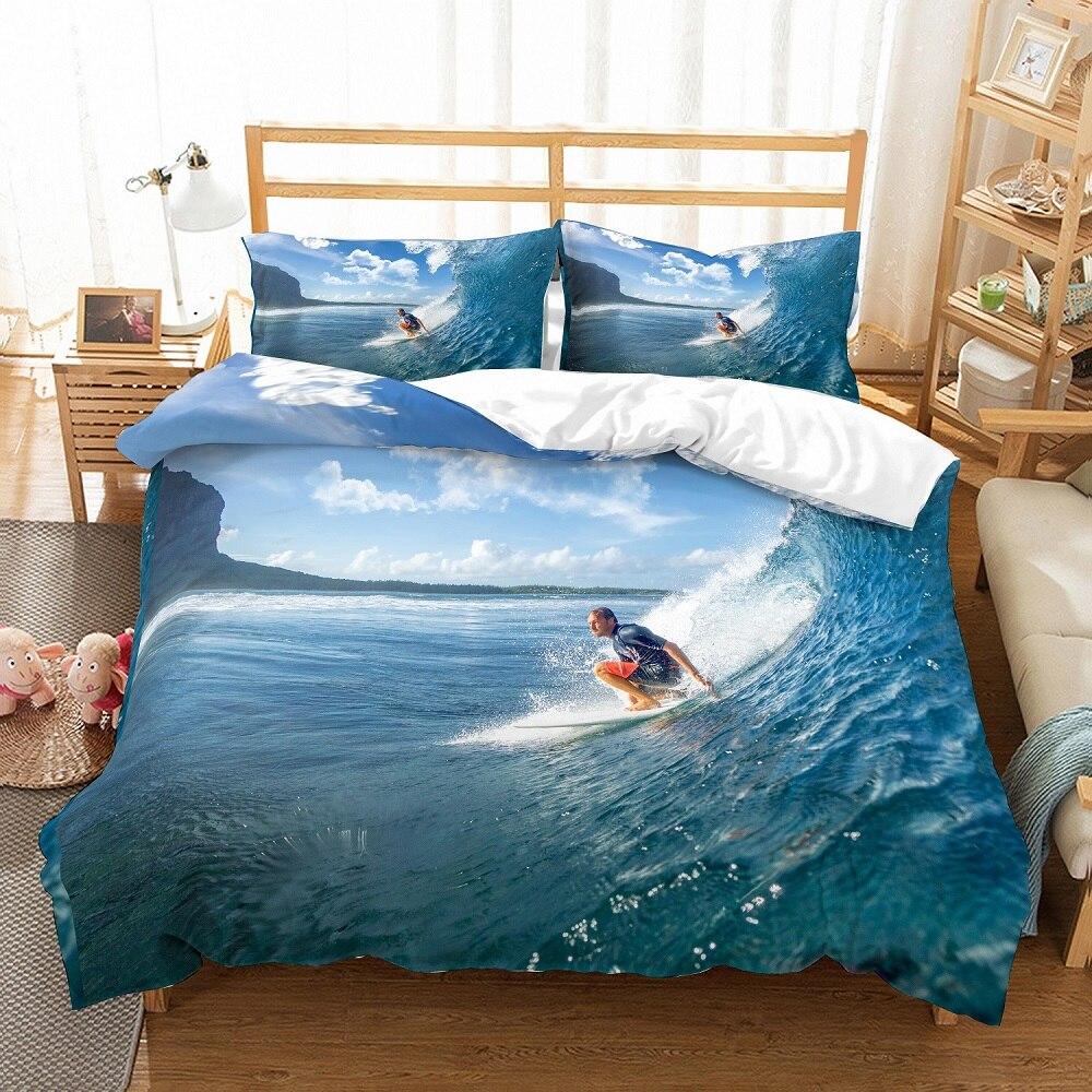 3D Print Bedding Set Tropical Holiday Blue Sea Spindrift Rapid Surf Home Duvet Cover Set Bed Linen Set Pillowcase Home Textiles