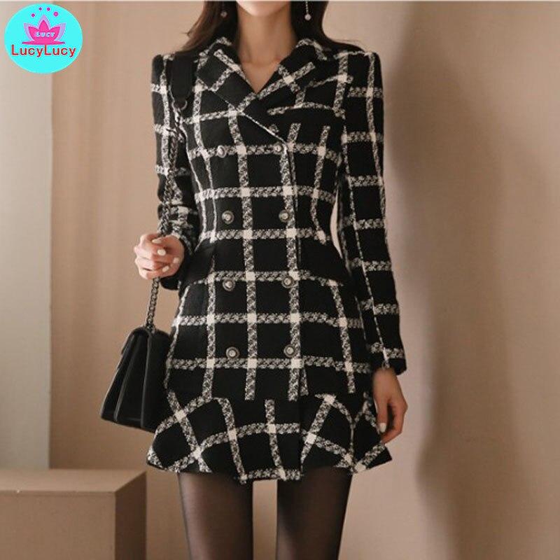 2019 automne et hiver nouveau tempérament coréen costume col à carreaux mince robe en laine à volants genou-longueur