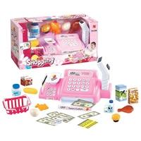 24Pcs Children Pretend Play Simulation Shopping Toy Supermarket Cash Register Playset Pink