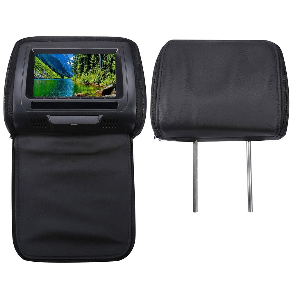 С застежкой-молнией 7 дюймов подголовник автомобиля динамик видео монитор HD ЖК-экран Регулируемая игра Инфракрасный USB dvd-плеер автомобиля дисплей MP5 - Цвет: Black