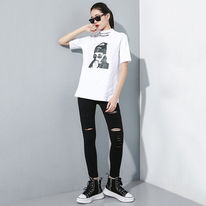 Image 5 - [EAM] High Waist Black Slim Trousers New Loose Fit Pencil Pants Women Fashion Tide All match Spring Autumn 2020 1A698