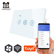 US Standard Touch Dimmer Fan Switch Wifi Tuya App Control 1 Gang Wall Smart Automation Switch 220V Speed Slow Fast Control