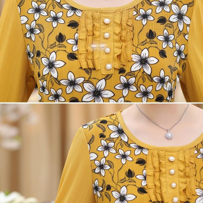 2020 New Summer Blouse Shirt Female Floral Printing Nine Quarter Sleeve Long Shirts Women Tops Ladies Clothing Plus Size 5XL