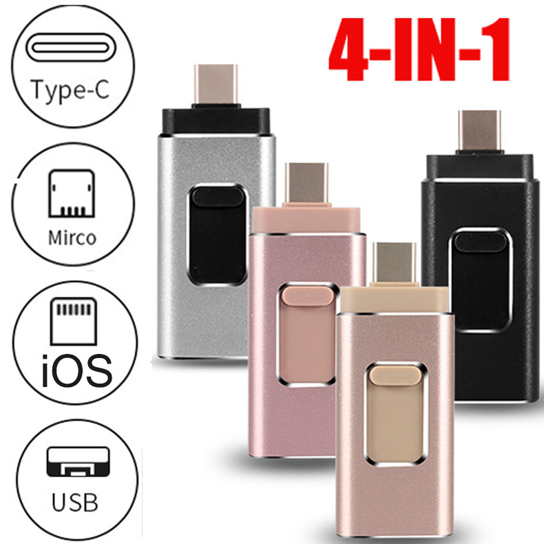 4 In 1 OTG USB Flash Drive 16G 32G 64G 128G Memory Stick Type-C Pen Drive For Samsung S8 S9 Huawei P20 Iphone X 8 7 Plus