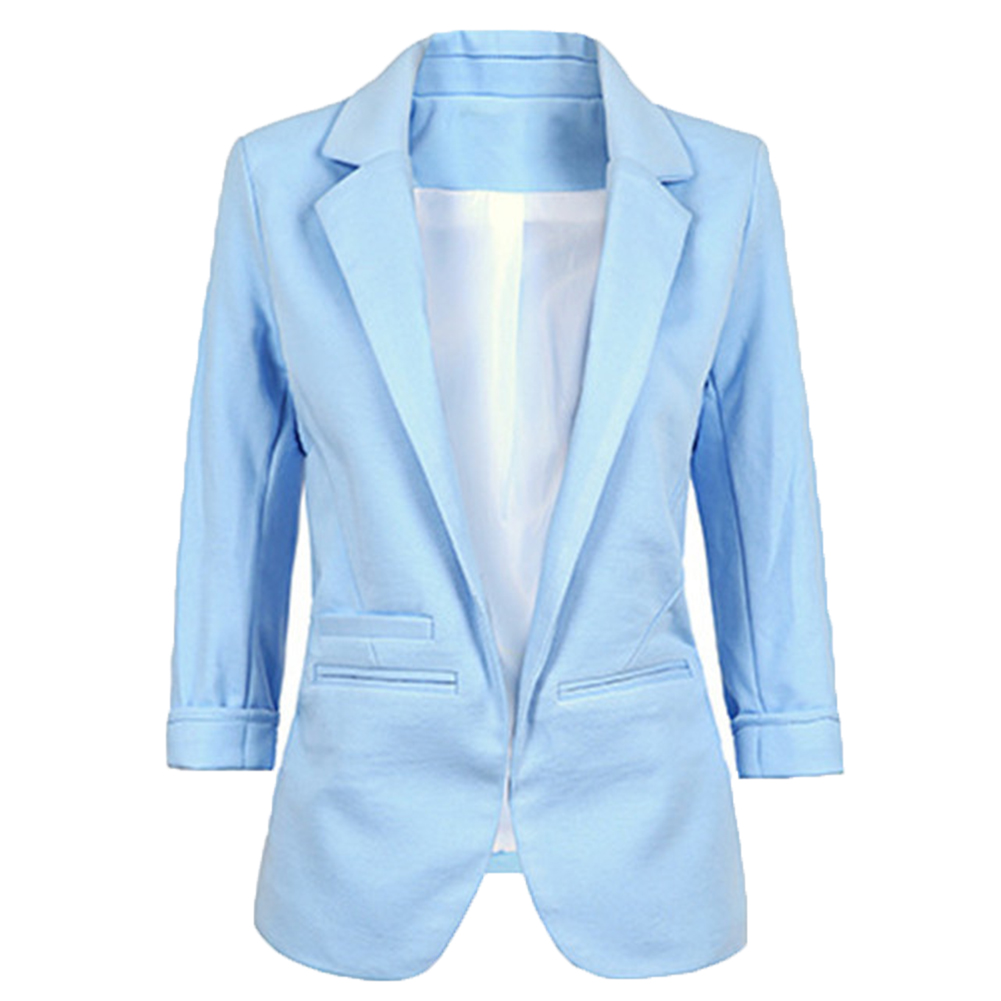 Women Basic Blazer Notched Collar Solid Beading Pearl Candy Colors For Office Retro Casual Outwear Chic Lady Solid Color
