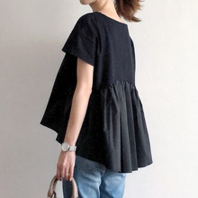 Women Causal Loose T-Shirt Fashion Patchwork Pleated Design Black Tshirts Young