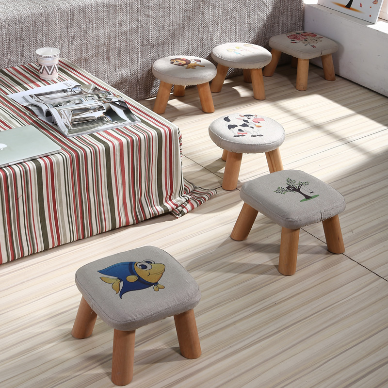 Small Stool Solid Wood For Shoe Tea Several Short Home Decor Room Creative Children Adult Bench Sofa Round Stool