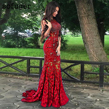 Party-Gown Evening-Dresses Arabic Mermaid Bling Formal Saudi Special-Occasion Lace Africal