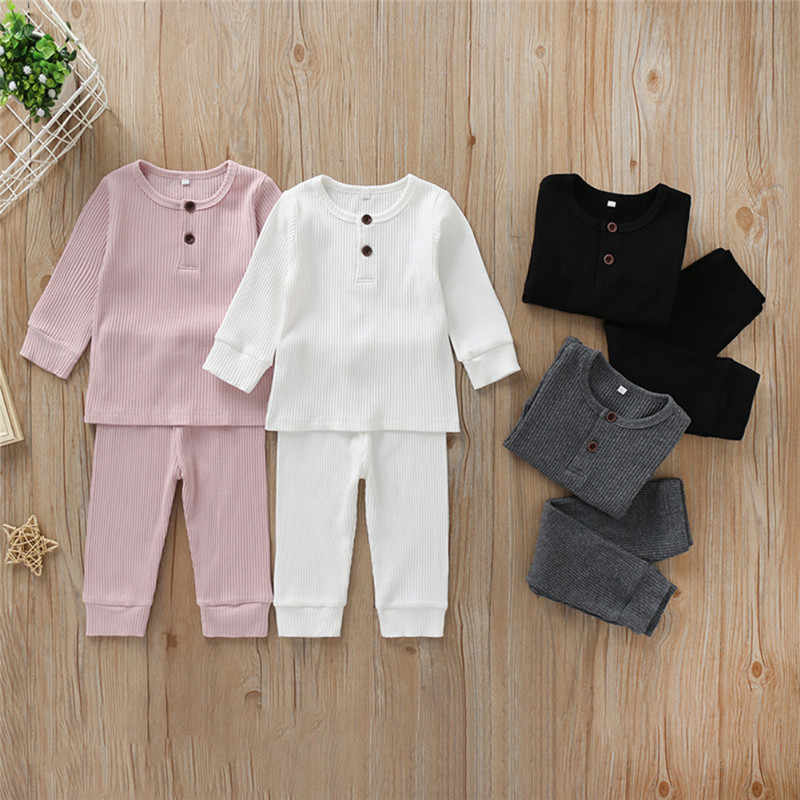 0-3T Newborn Kid Baby Boy Girl Clothes set Knitted Cotton Long Sleeve Top and Pant suit Cute Plain Sleepwear pajamas set Outfit