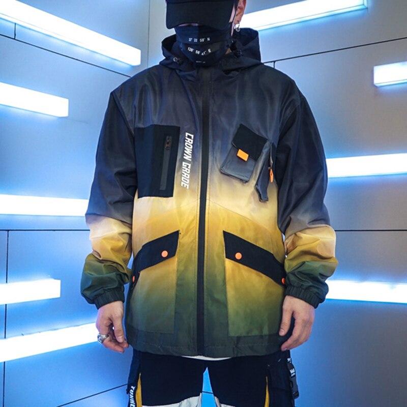 Image 5 - Men Hip Hop Jacket Windbreaker Streetwear Retro Harajuku Gradient Color Block Jacket Coat 2019 Pocket Zip Track Jacket Hoodie-in Jackets from Men's Clothing