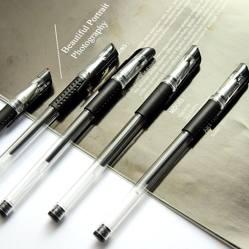 0.5mm European Standard Black Ink Gel Pen Bullet Needle Tube Carbon Office School Signature Gel Pen Pen for Student Examination 2