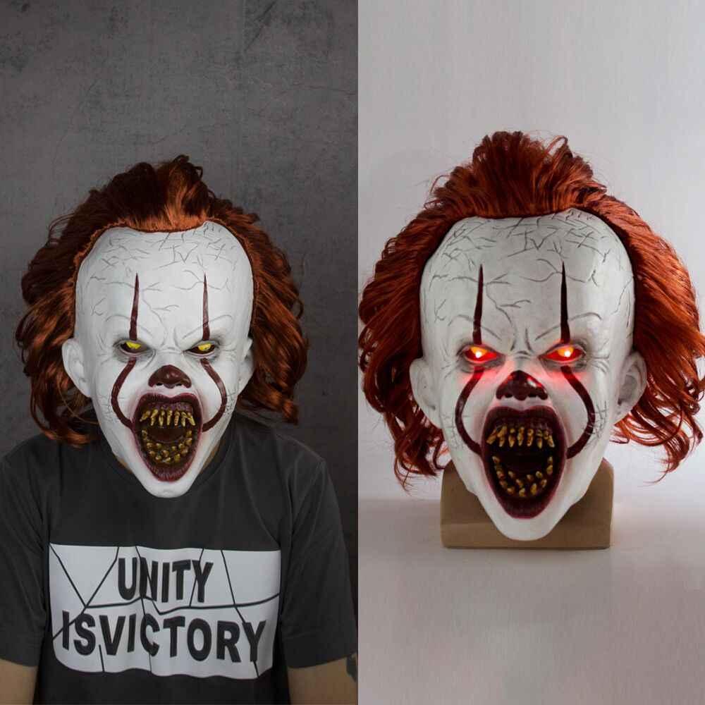 LED Horror Pennywise Joker Maschera Cosplay Stephen King Si Capitolo Due Clown Maschere In Lattice Casco Puntelli Del Partito di Halloween Deluxe Nuovo