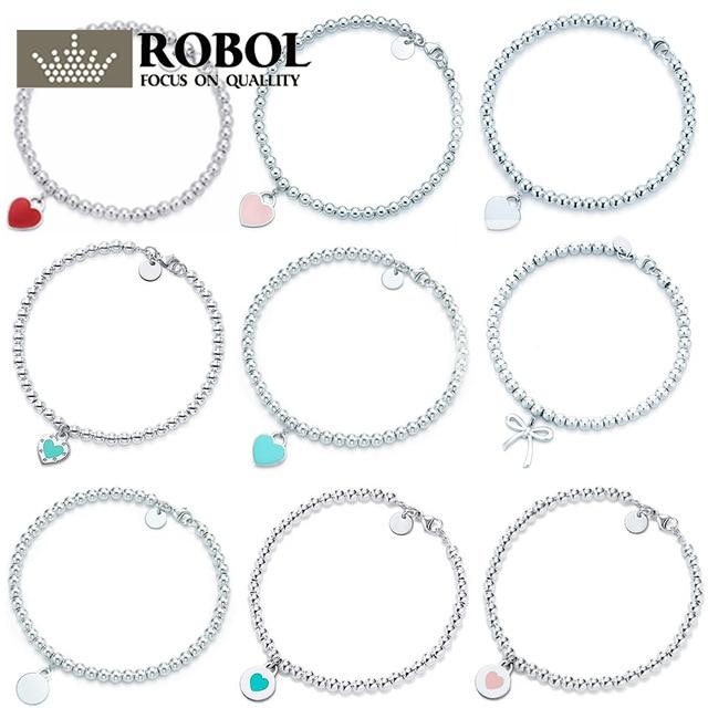 SL  01  TFB RLLEN Original 925 Sterling Silver Classic Elegant Love Bracelet Multicolor Optional Logo Woman Girl DIY Jewelry.