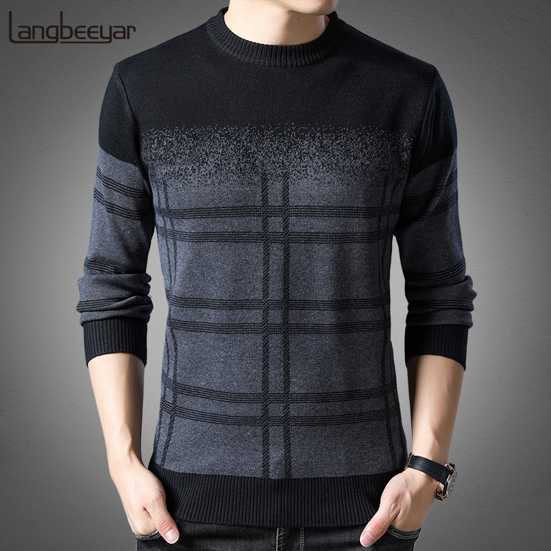 2019 New Fashion Brand Sweater Mens Pullovers Thick Slim Fit Jumpers Knitwear Woolen Winter Korean Style Casual Clothing Men