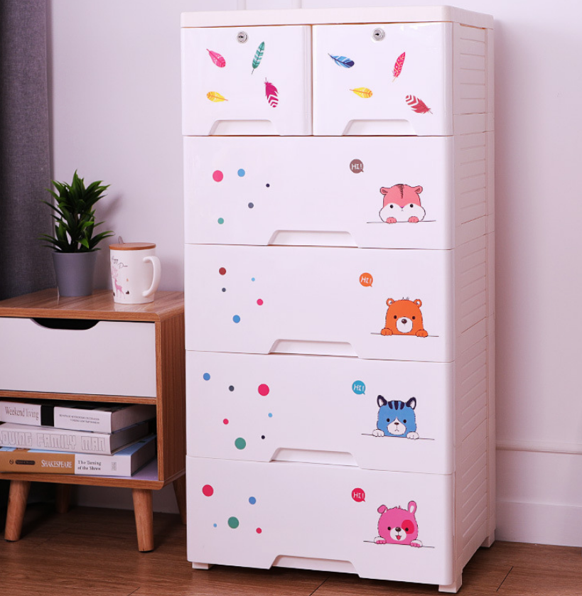 Large Storage Drawer Cabinet For Baby Plastic Children Toy Storage Organizer Drawers Simple DIY Wardrobe Five Layer Cabinet