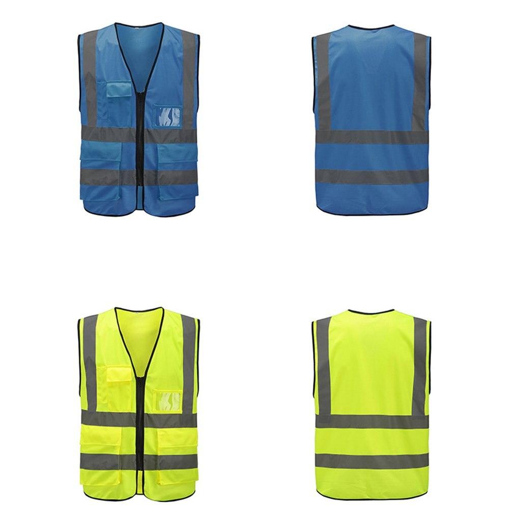 ) Мульти-карман светоотражающий жилет езда дорожного движения жилет безопасности на железнодорожном транспорте шахтеров униформа жилет воздухопроницаемый светоотражающий жилет