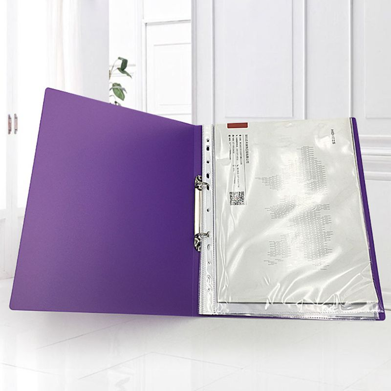 Colorured Transparent A4 Ring Binder Loose-leaf Paper File Folder Storage Supply